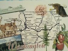 VINTAGE POST CARD AIREAL VIEW MAP OF AMAZING STATE OF WASHINGTON