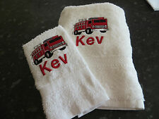 PERSONALISED FIRE ENGINE TOWEL SET