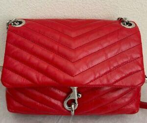 NWT REBECCA MINKOFF Edie Metallic Leather Crossbody Shoulder Bag $228 Tomato