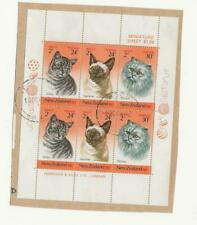 New Zealand Health Issue Cats Miniature Sheet used on piece