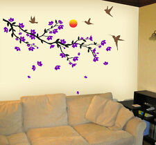 Wall stickers Black Branch Purple flowers flying birds Moon Living room 5006