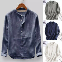 Men's Linen Long Sleeve Solid Shirts Casual Loose Dress Soft Tops Blouse Tee US