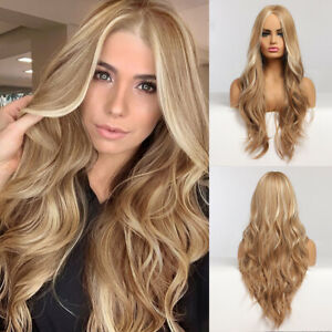 Long Wavy Light Blonde with Highlights Hair Wigs for Women 26 inch
