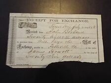 1858 Gold Rush Era Wells Fargo and Co. Receipt for Exchange
