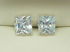925 STERLING SILVER EARRINGS 8mm SQUARE PRINCESS CLEAR LAB-CREATED STUD sk976