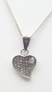 925 Necklace Chain Pendant Heart Sterling Silver With Little White Stones