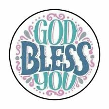 """48 GOD BLESS YOU ENVELOPE SEALS LABELS STICKERS 1.2"""" ROUND"""