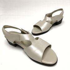 @@ SAS Suntimer Ivory Beige Leather Sandals Shoes Women's Sz 9.5W Block T-Strap