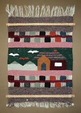 Hand Woven Wall Art Tapestry Wool Hanging Mountain Cabin House And Birds 15 x 20