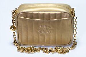 Vintage 1990's CHANEL Paris CC Striped Gold Leather Chain Mini Crossbody Bag