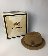 Vtg Stetson Hat THE SOVEREIGN Mode Edge Brown Sz 7 1/8 ORIGINAL BOX Fedora USA