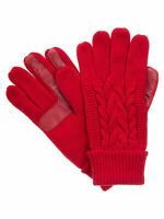 Isotoner Womens Cable Knit SmarTouch Touchscreen Texting Gloves Red - One Size