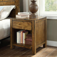 Nightstand Solid Wood Rustic Barn Wood Finish Night Stand Bedroom Furniture New