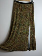 Free People Soft Jersey Maxi Skirt w/ Side Slit Paisley Floral Size Small