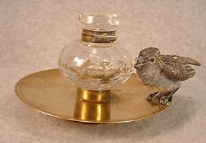 Antique 1890's Cut Crystal Glass & Brass Inkwell With Cold Painted Bronze Bird