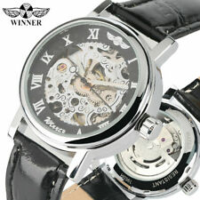 WINNER Women Self-Wind Mechanical Wrist Watch Leather Strap Roman Numbers Dial