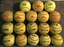 Huge Lot Of 18 Well Used Dudley Worth & More Yellow Green Slow Pitch Softballs Y