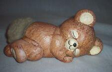 Brown Bear Sleeping Fuzzy Tail Ceramic Figurine
