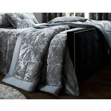 Catherine Lansfield Crushed Velvet Silver Quilted Bedspread Throwover Bed Throw