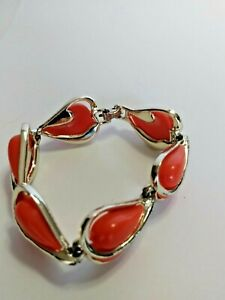 VINTAGE CORO ORANGE LUCITE HEART SHAPED BRACELET - THERMOSET 1950'S