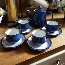 DENBY IMPERIAL BLUE TEAPOT  WITH FOUR CUPS & SAUCERS, NO CHIPS OR CRACKS.