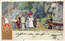 4884) FUNICOLARE COMO BRUNATE, CELEBRE FONTANA DEL PISSAROTINO. VIAGGIATA 1902.