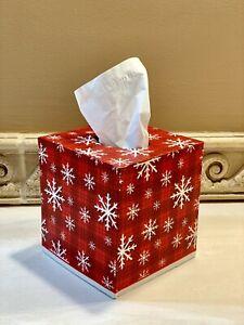 Tis The Season!Handmade Red Plaid Snowflake Christmas Decoupage Tissue Box Cover