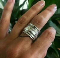 Solid 925 Sterling Silver Meditation Ring Statement Ring Spinner Ring Size sr406
