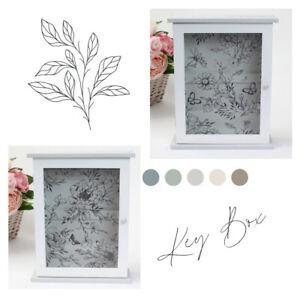 "Wooden Wall Mounted Key Box / Cabinet. ""Secret Garden"" Flower / Butterfly Design"