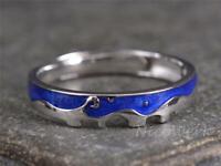 Silberring Nachthimmel Blau Welle Schmal Mit muster Ring Silber 925 Verstellbar