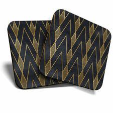 2 x Coasters - Black & Gold Geometric Art Deco Home Gift #12545