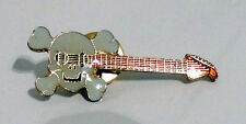 ZP206 Electric Guitar Goth Heavy Power Thrash Metal Rock Lapel Pin Badge Skull