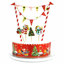 Christmas Cake Flag Topper Banner Bunting Kit - Festive Xmas Decoration For Kids