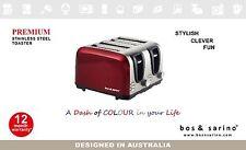 4 Slice Premium Stainless Steel Dark RED Colour Dual Control Versatile Toaster