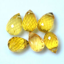 5.59 Cts Unheated Lustrous Gold Yellow Sapphire Drilled Briolette Cut Drops Lot