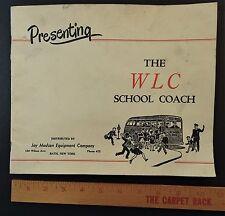 RARE - Original Catalog - 1951 School Bus - WLC Coach - Carpenter Mitchell IN