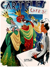 """11x14""""poster on CANVAS decor.Home room art.Cafe cubano for 3 Kings.6707"""