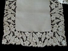 "Gorgeous Vtg Madeira Linen Runner 32"" Hand Embroidered Cutwork Pristine"
