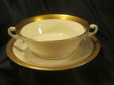 "Retired Syracuse China Old Ivory ""Bracelet"" Cream Soup Bowl & Saucer - set of 4"