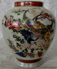 SATSUMA Antique Double Peacock Vase, huge ex-condition, w/name & correct mark!