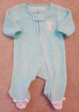 ADORABLE! CARTER'S NEWBORN MINT GREEN TERRY CLOTH MOUSE FOOTED SLEEP N PLAY