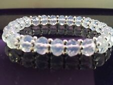 "5x8mm Faceted Sri Lanka Moonstone Flex 7"" Bracelet + Pouch"