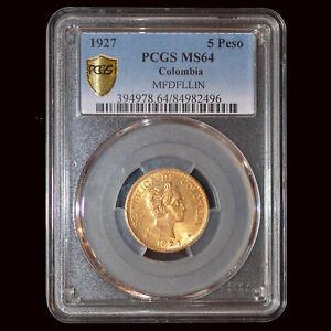 "PCGS MS64 1927 Colombia Republic gold ""MFDFLLIN"" 5 Pesos"