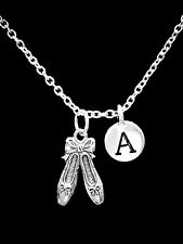 Choose Initial, Ballet Slippers Shoes Ballerina Dance Christmas Gift Necklace
