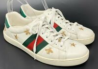 Authentic GUCCI Embroidery Sherry Line Sneakers Flats #7 US 8 White Leather