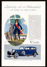 1933 CADILLAC V-12 5-Passenger Sedan Vintage Original Print AD Blue car art EN