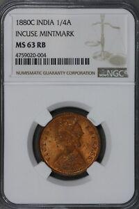 India 1880 C1/4 Anna Incuse Mintmark NGC MS 63 RB    S227