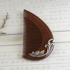 925 sterling silver &Sandalwood Hair comb Pick No Static health wood Brush S2255