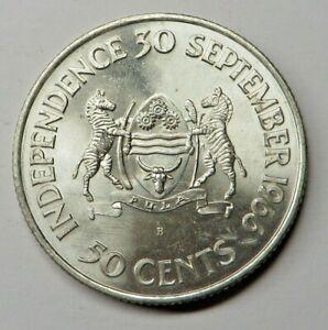 Botswana 50 Cents ND(1966)B Silver KM#1 UNC