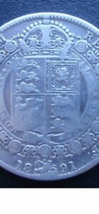 1891 Victorian Half Crown Sterling Silver Coin